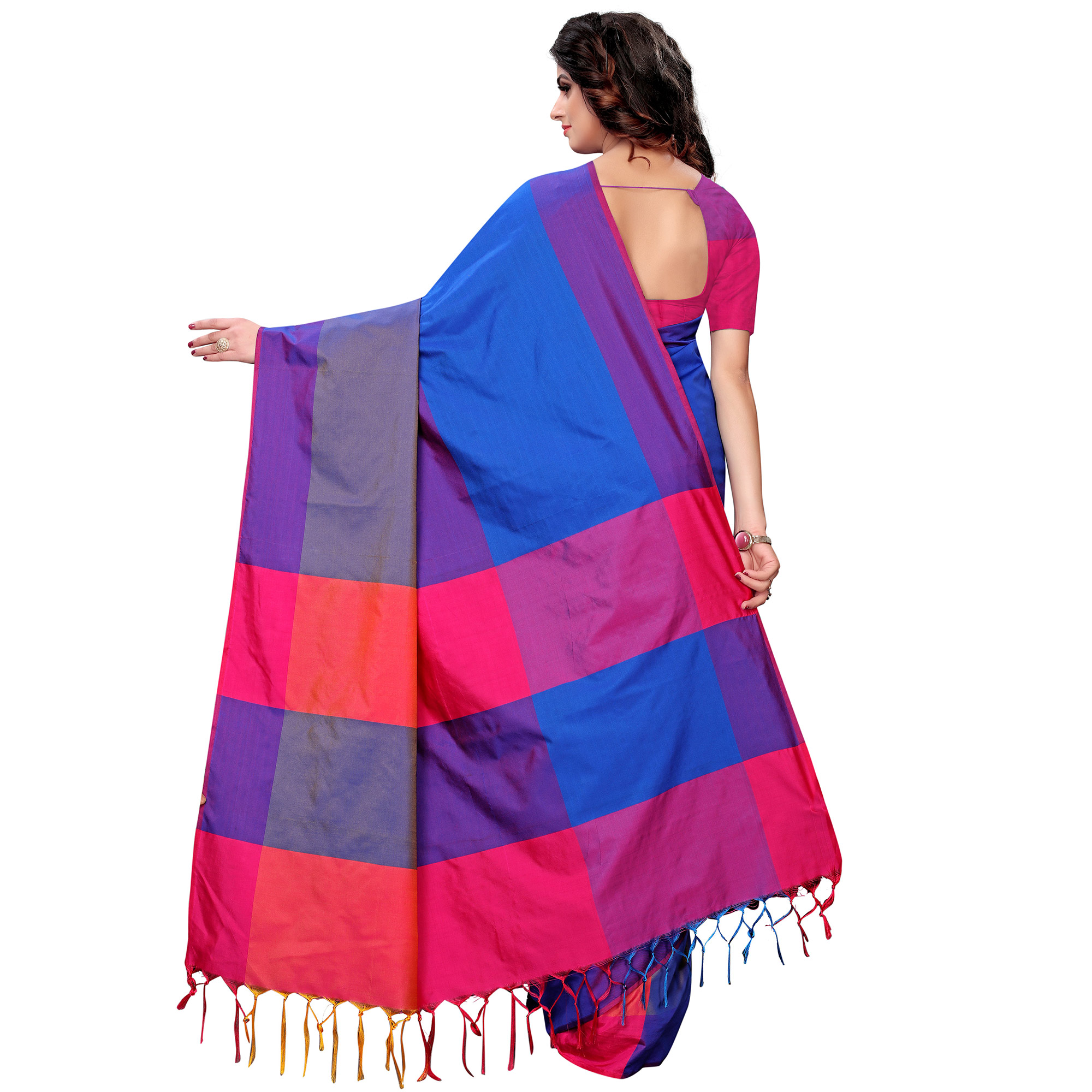 Glowing Royal Blue Colored Festive Wear Tussar Silk Saree With Tassels
