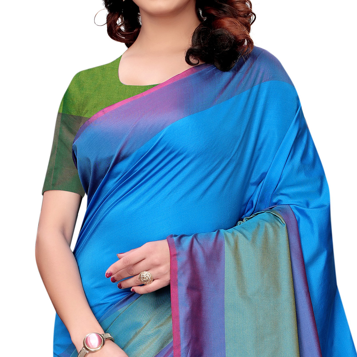 Gleaming Sky Blue Colored Festive Wear Tussar Silk Saree With Tassels