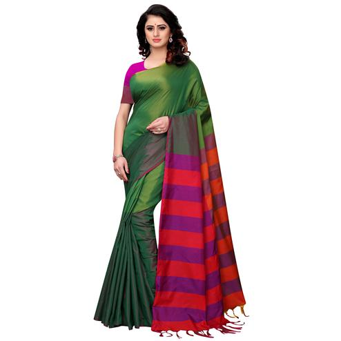 Mesmeric Green Colored Festive Wear Tussar Silk Saree With Tassels