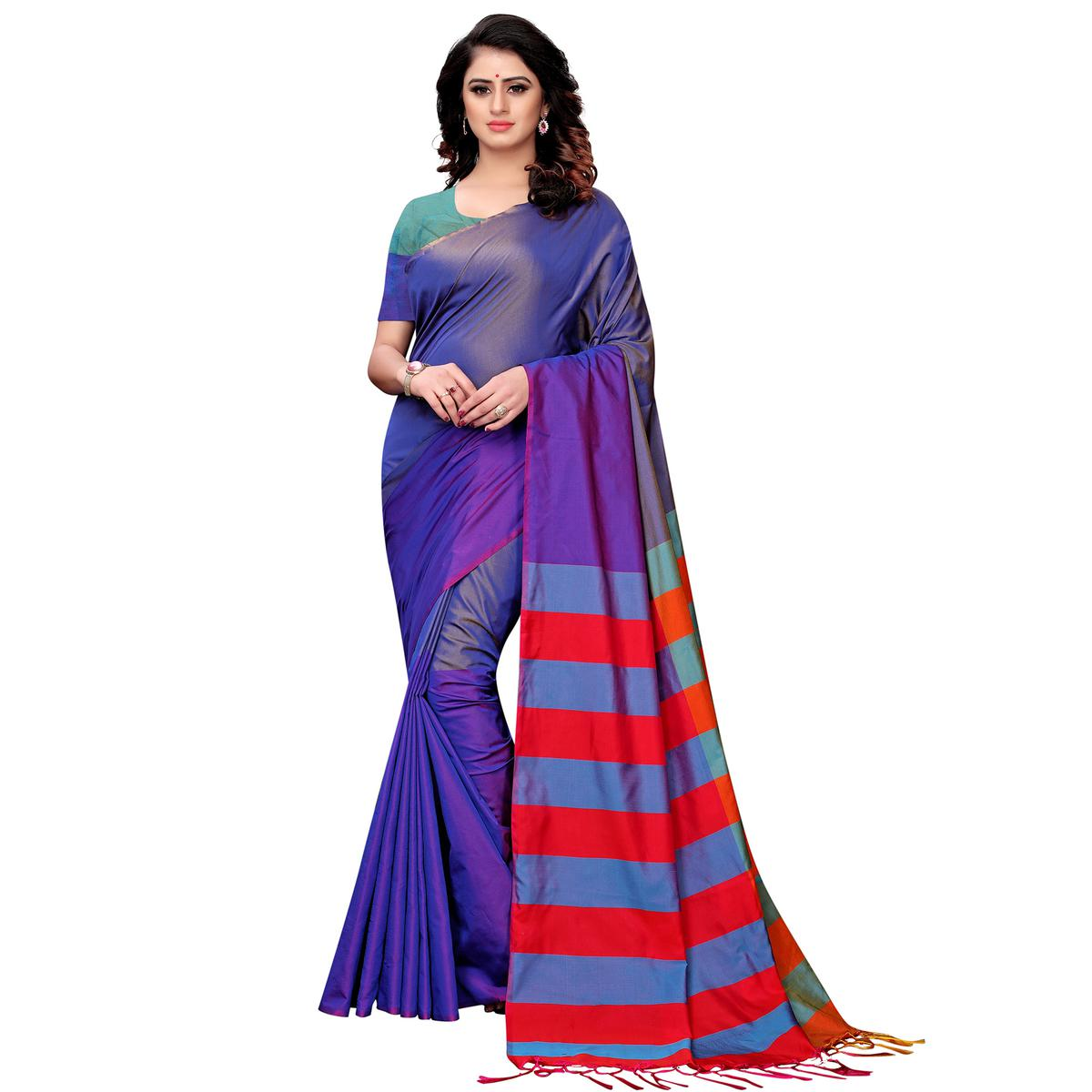 Demanding Purple Colored Festive Wear Tussar Silk Saree With Tassels