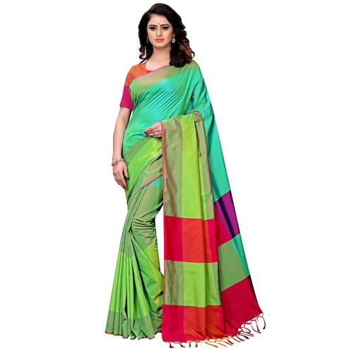 Refreshing Shaded Green Colored Festive Wear Tussar Silk Saree With Tassels