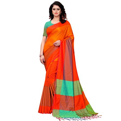 Magnetic Orange Colored Festive Wear Tussar Silk Saree With Tassels