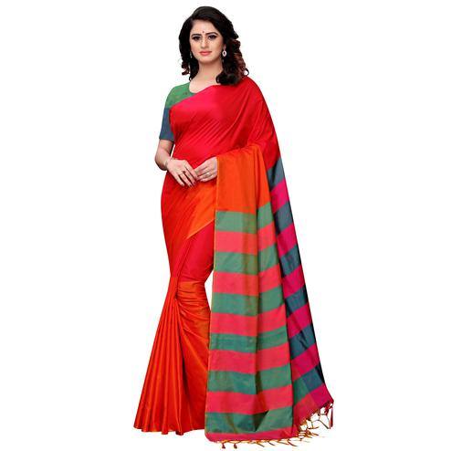 Ethnic Red-Orange Colored Festive Wear Tussar Silk Saree With Tassels