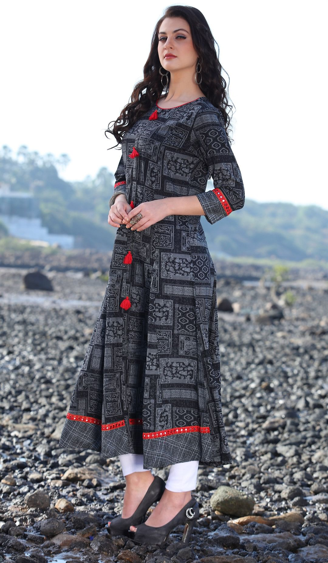Beautiful Black Designer Printed Rayon Kurti