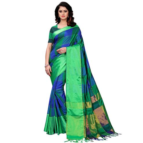 Appealing Blue-Green Colored Festive Wear Tussar Silk Saree With Tassels