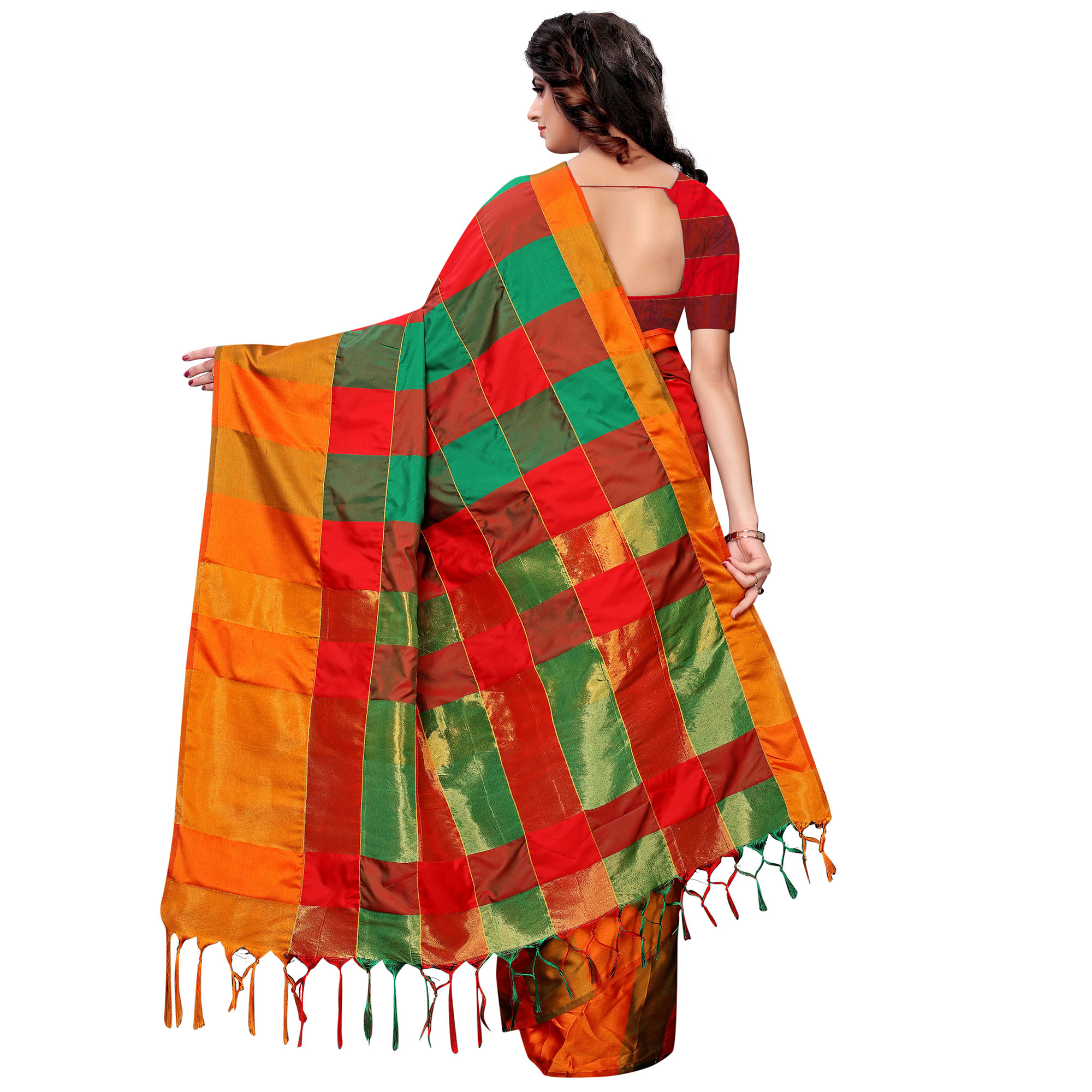 Capricious Red-Green Colored Festive Wear Tussar Silk Saree With Tassels