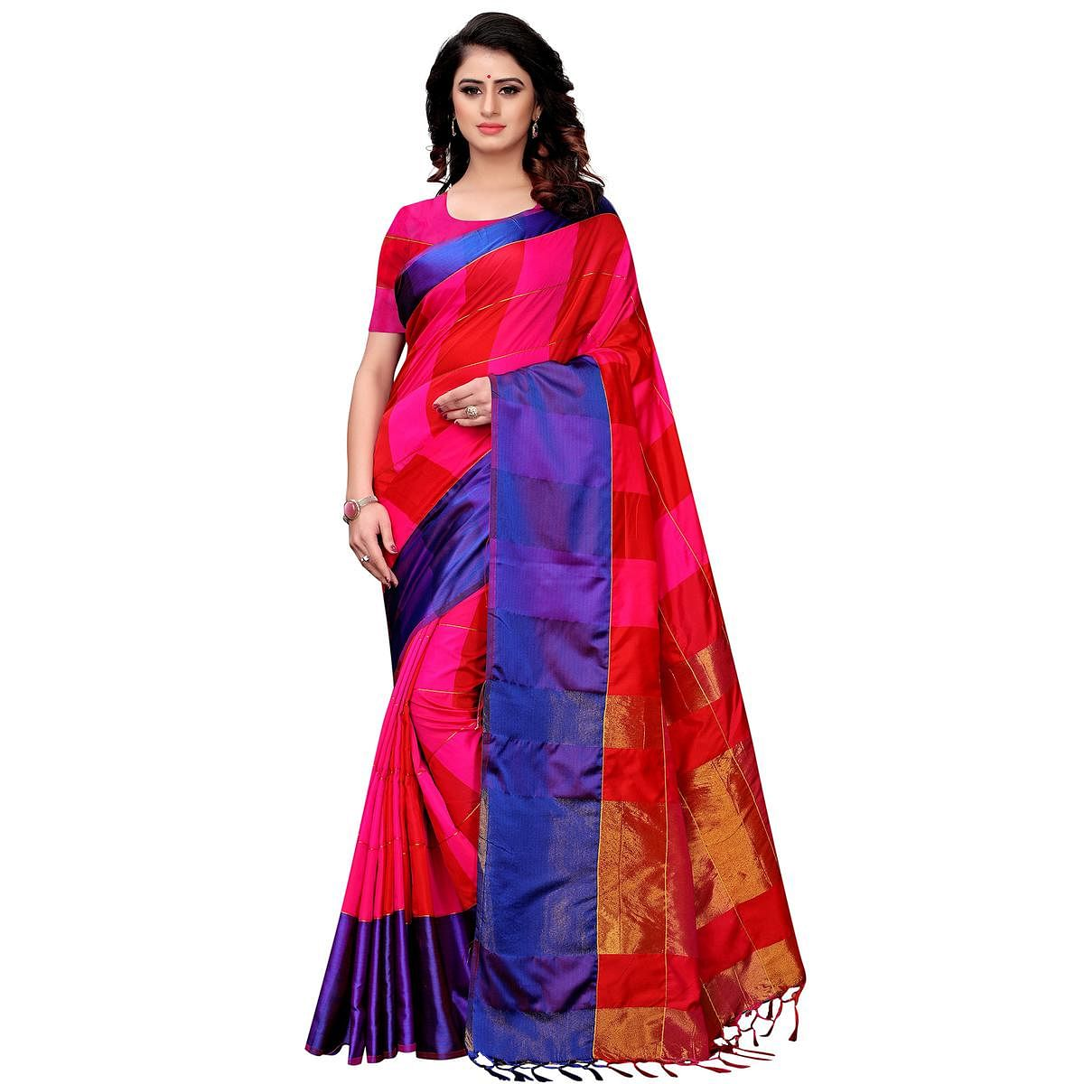 Prominent Rani Pink-Blue Colored Festive Wear Tussar Silk Saree With Tassels