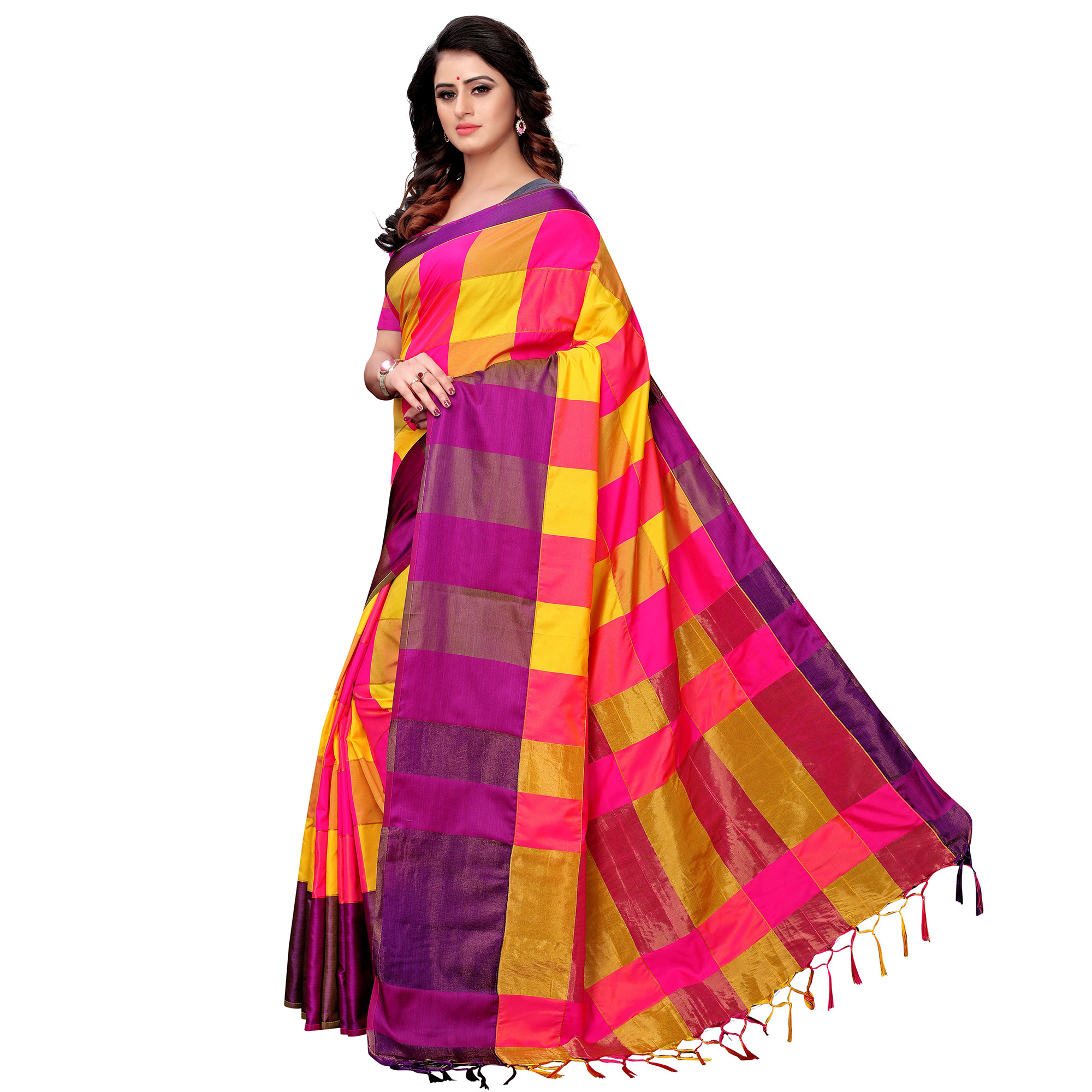 Innovative Yellow-Pink Colored Festive Wear Tussar Silk Saree With Tassels