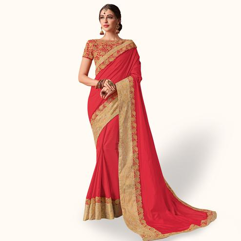 Gleaming Red Colored Party Wear Embroidered Raw Silk Saree
