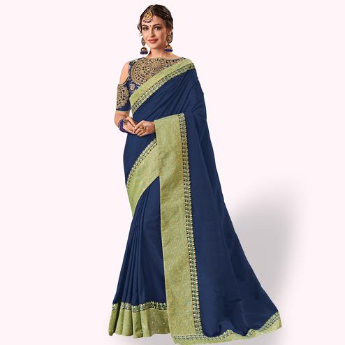 Demanding Navy Blue Colored Party Wear Embroidered Banarasi Silk Saree