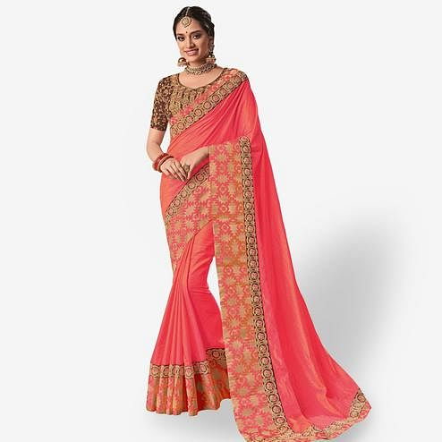 Hypnotic Pink Colored Party Wear Embroidered Banarasi Silk Saree