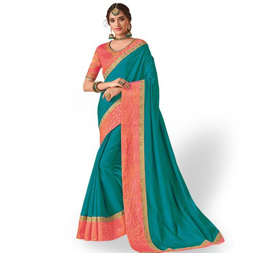 Elegant Dark Cyan Colored Party Wear Embroidered Raw Silk Saree