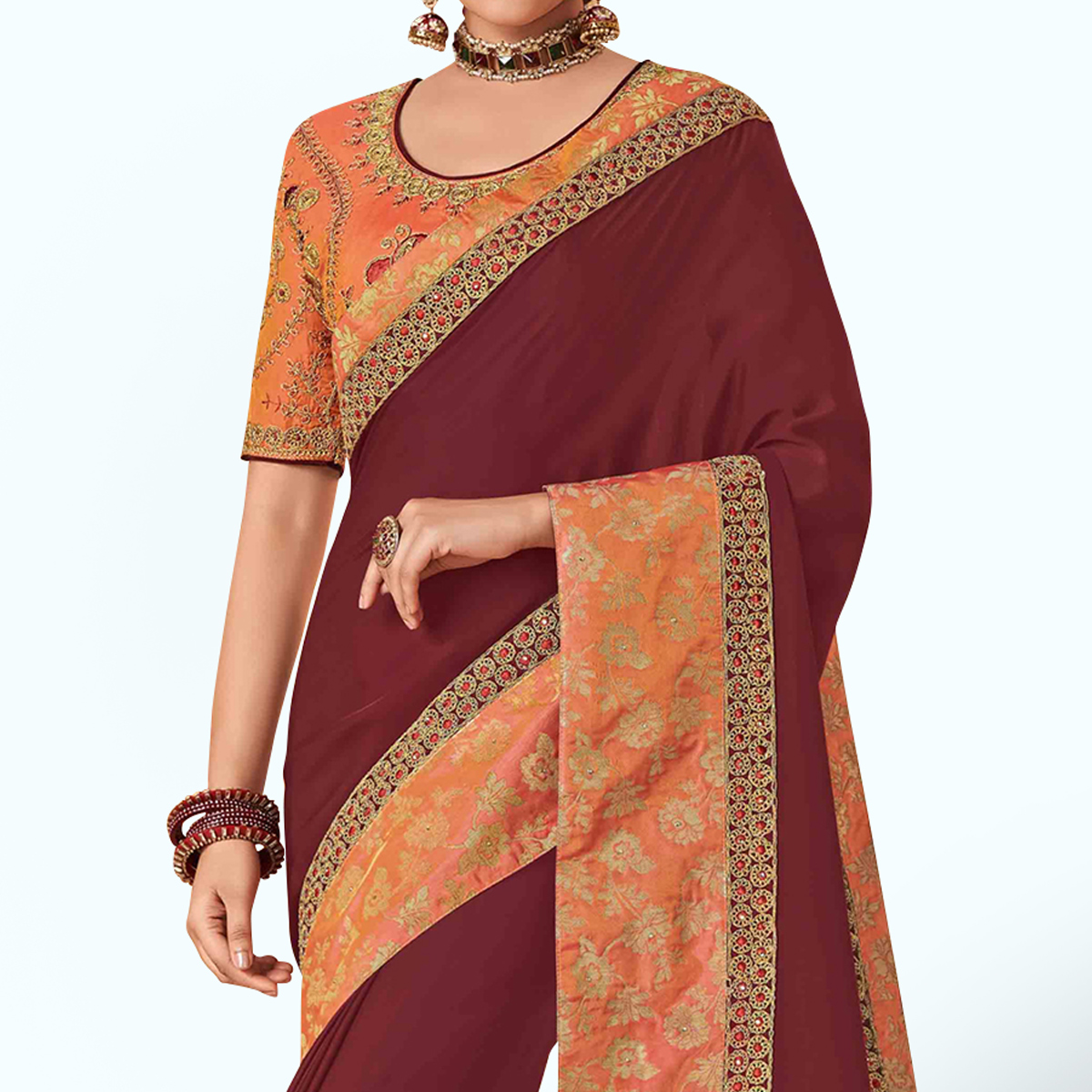 Impressive Maroon Colored Party Wear Embroidered Silk Saree