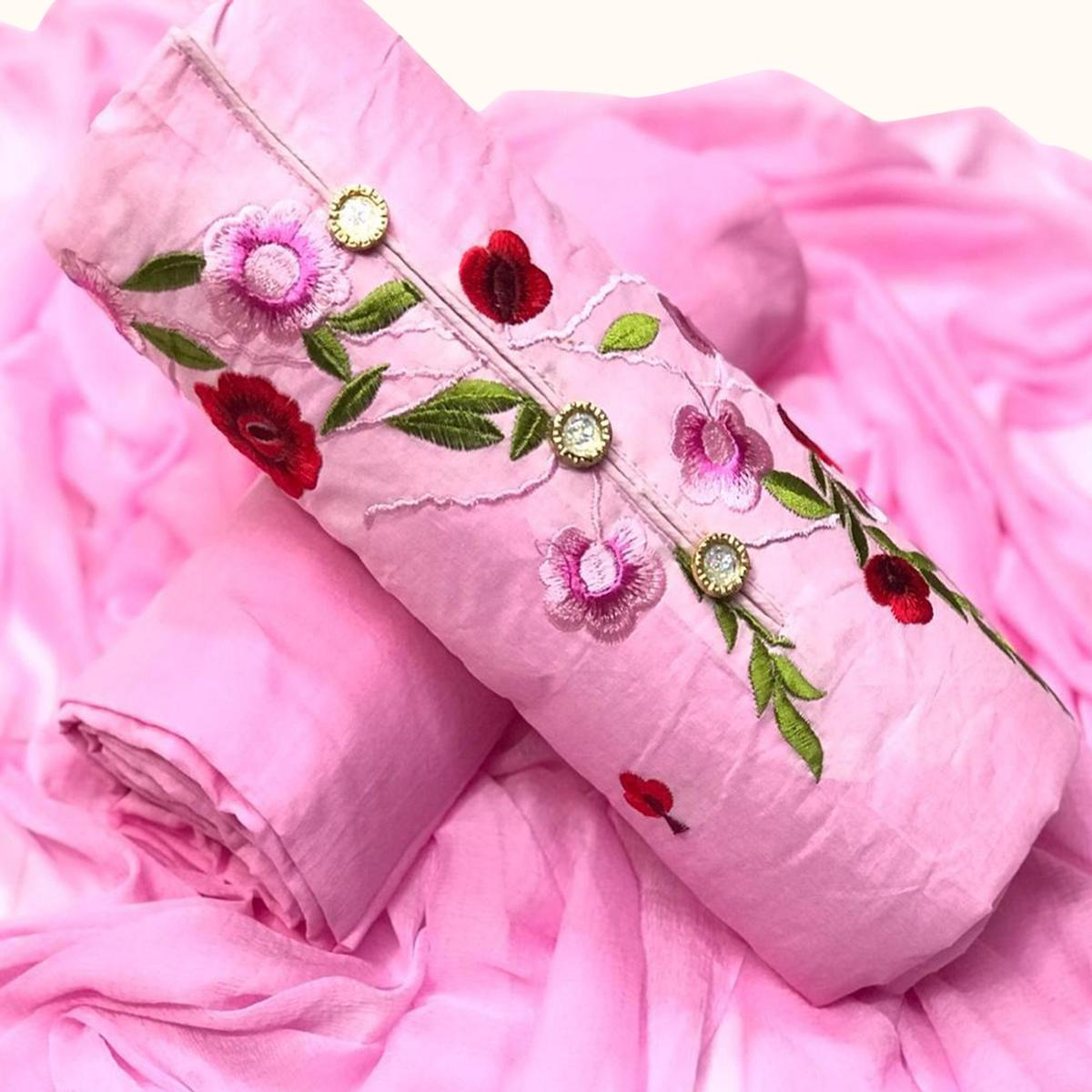 Classy Pink Colored Partywear Embroidered Cotton & Russel Net Dress Material