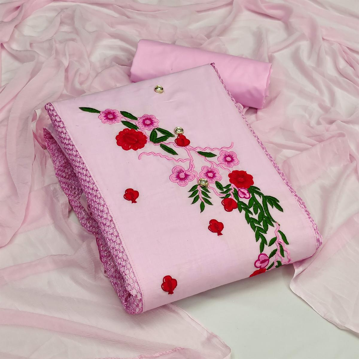 Classy Pink Colored Casual Wear Embroidered Cotton & Russel Net Dress Material
