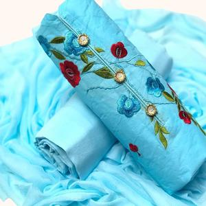 Refreshing Sky Blue Colored Partywear Embroidered Cotton & Russel Net Dress Material