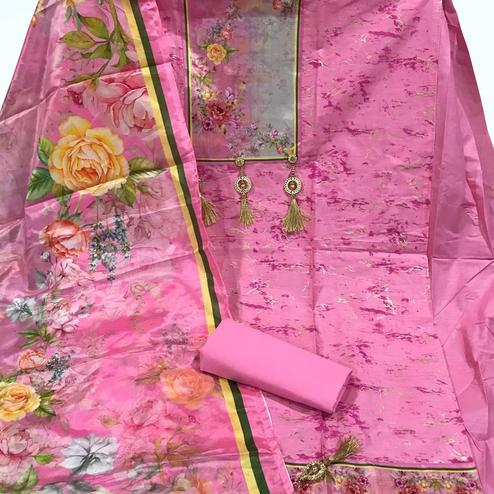 Blooming Pink Colored Partywear Printed Cotton Dress Material