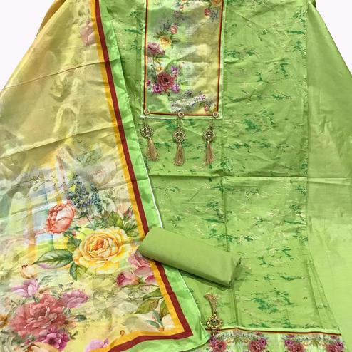Opulent Green Colored Partywear Printed Cotton Dress Material