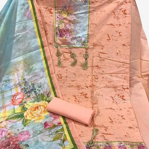 Demanding Peach Colored Partywear Printed Cotton Dress Material