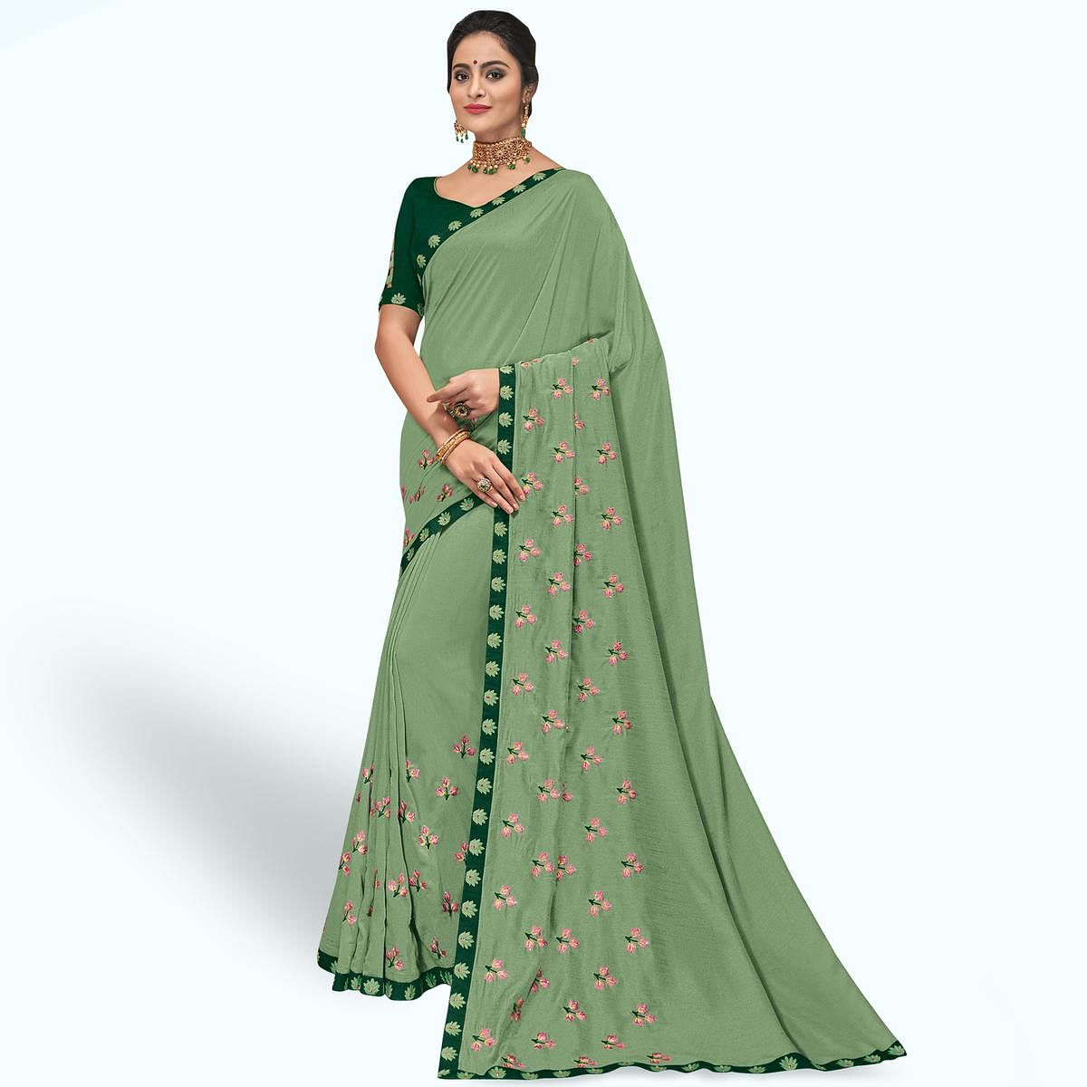 Ravishing Pastel Green Colored Partywear Embroidered Georgette Saree