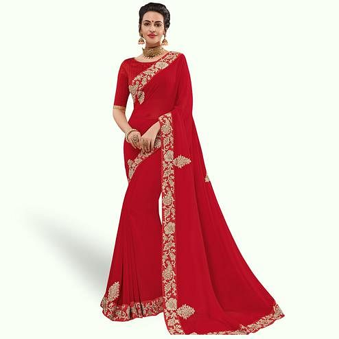 Staring Red Colored Partywear Embroidered Georgette Saree