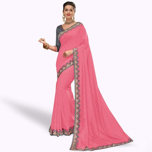 Stunning Pink Colored Partywear Embroidered Silk Saree