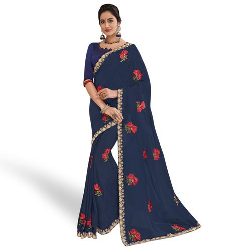 Surpassing Navy Blue Colored Partywear Embroidered Georgette Saree