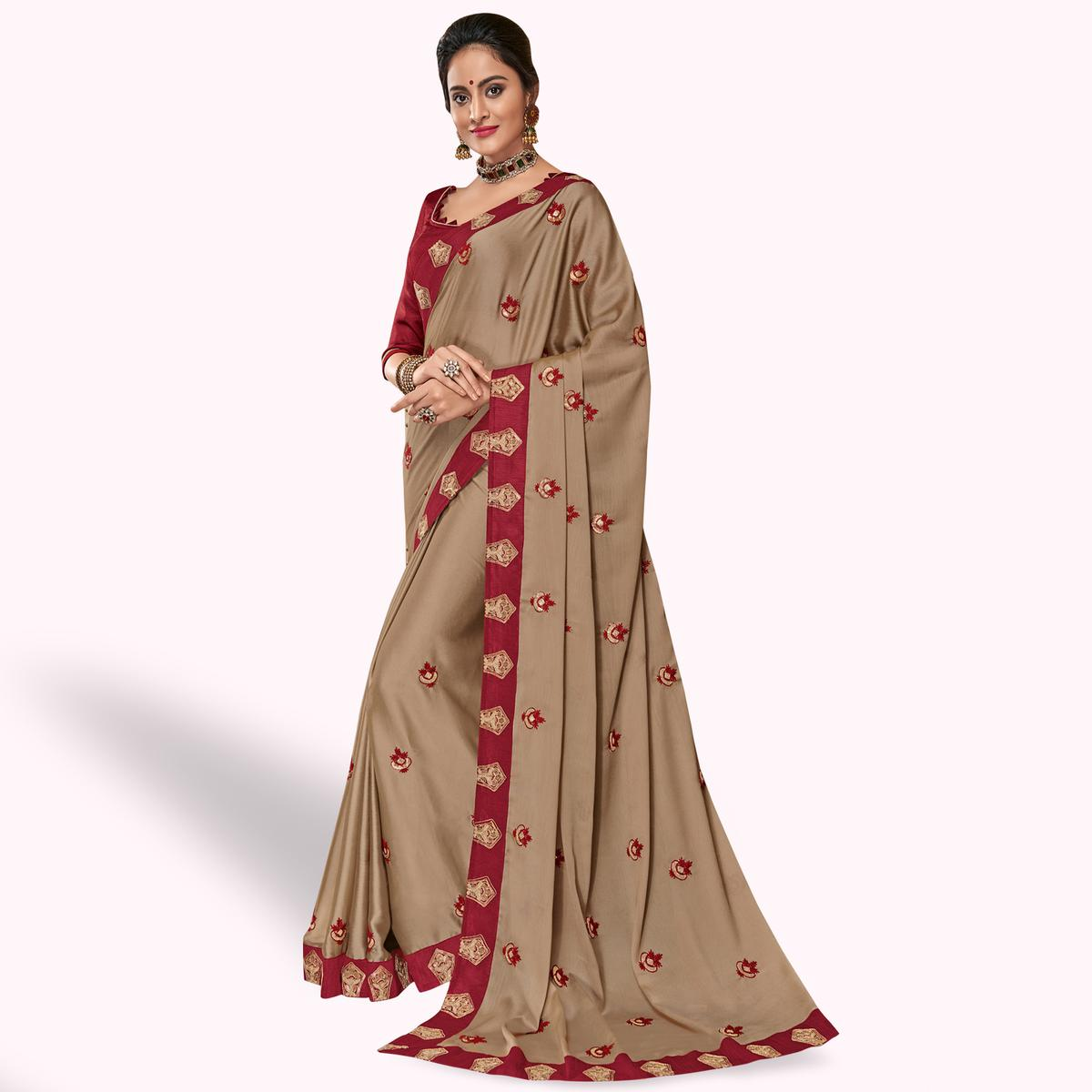 Blissful Light Brown Colored Partywear Embroidered Georgette Saree