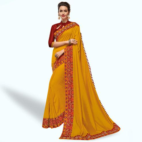 Blooming Mustard Yellow Colored Partywear Embroidered Silk Saree