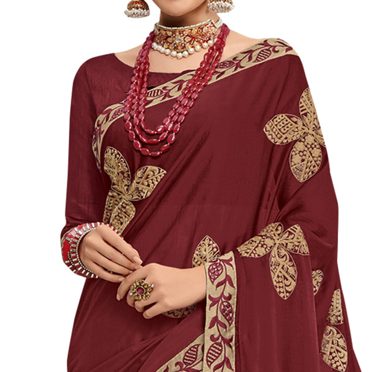 Classy Maroon Colored Partywear Embroidered Georgette Saree