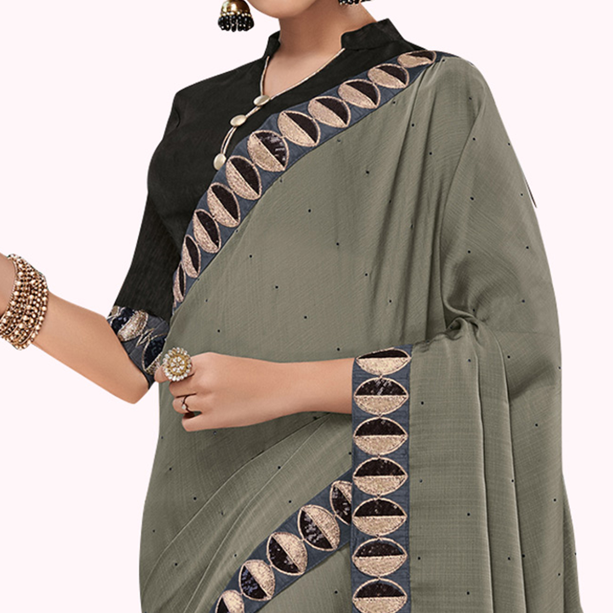 Delightful Gray Colored Partywear Embroidered Chiffon Saree