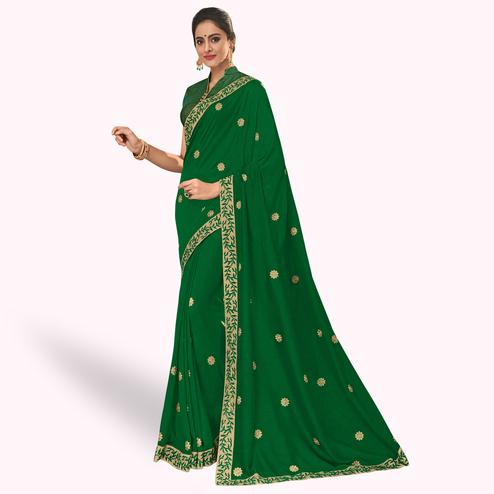 Exceptional Green Colored Partywear Embroidered Silk Saree