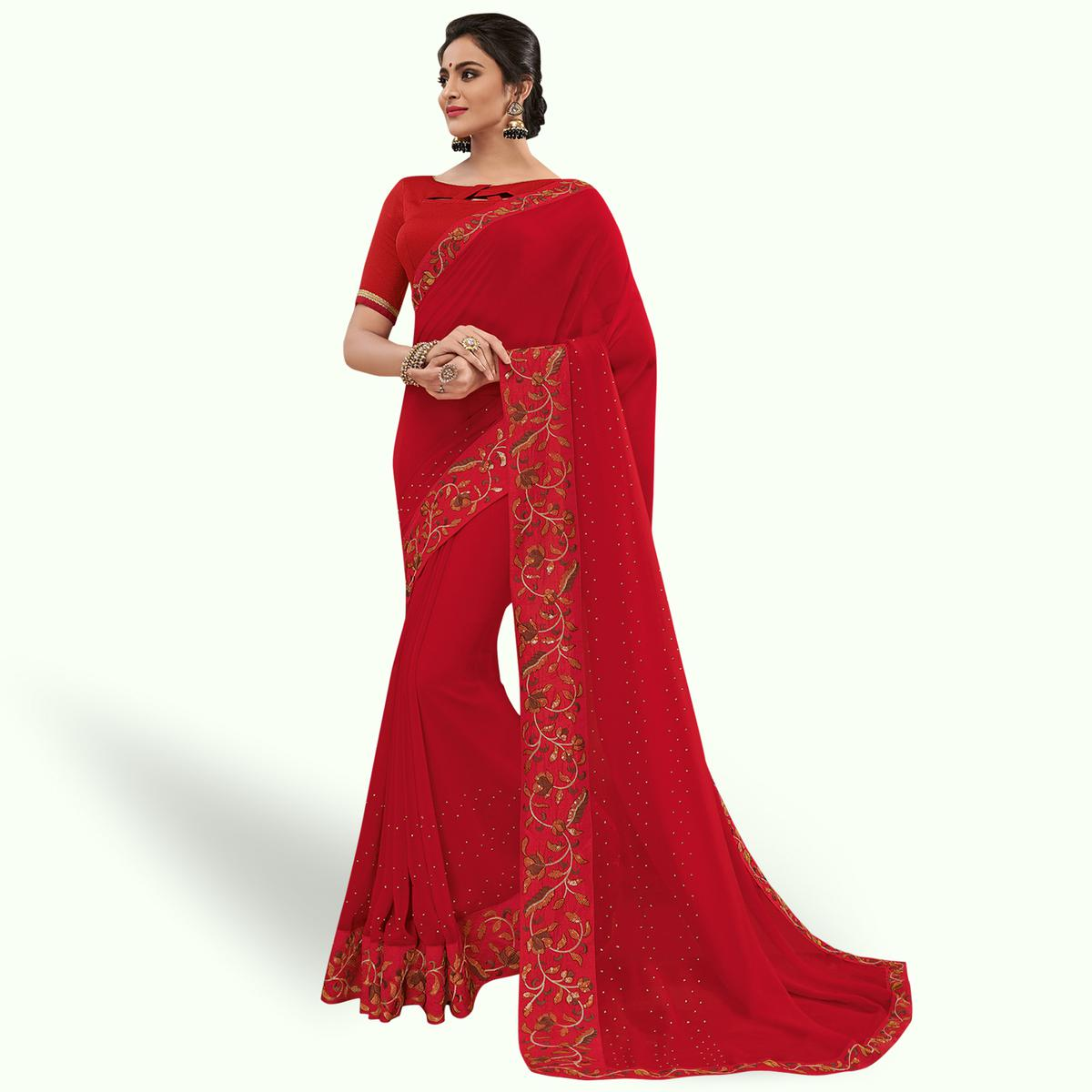 Mesmeric Red Colored Partywear Embroidered Georgette Saree