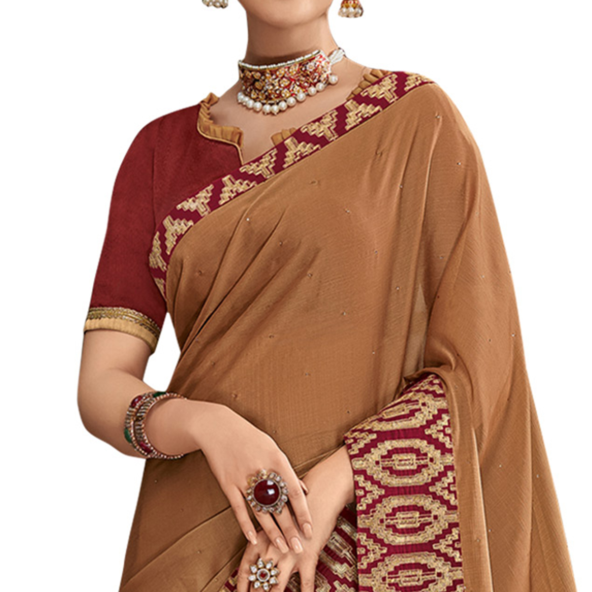 Unique Brown Colored Partywear Embroidered Chiffon Saree