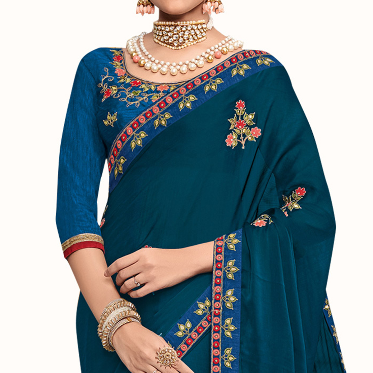 Trendy Dark Teal Blue Colored Partywear Embroidered Georgette Saree