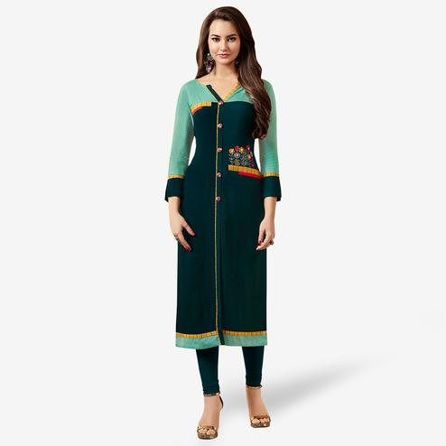 Jazzy Dark Teal Green Colored Partywear Embroidered Rayon Kurti