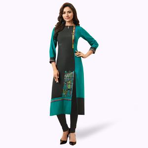 Adorning Black-Turquoise Green Colored Partywear Embroidered Rayon Kurti