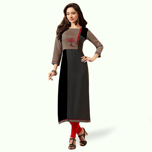 Appealing Gray Colored Partywear Embroidered Rayon Kurti