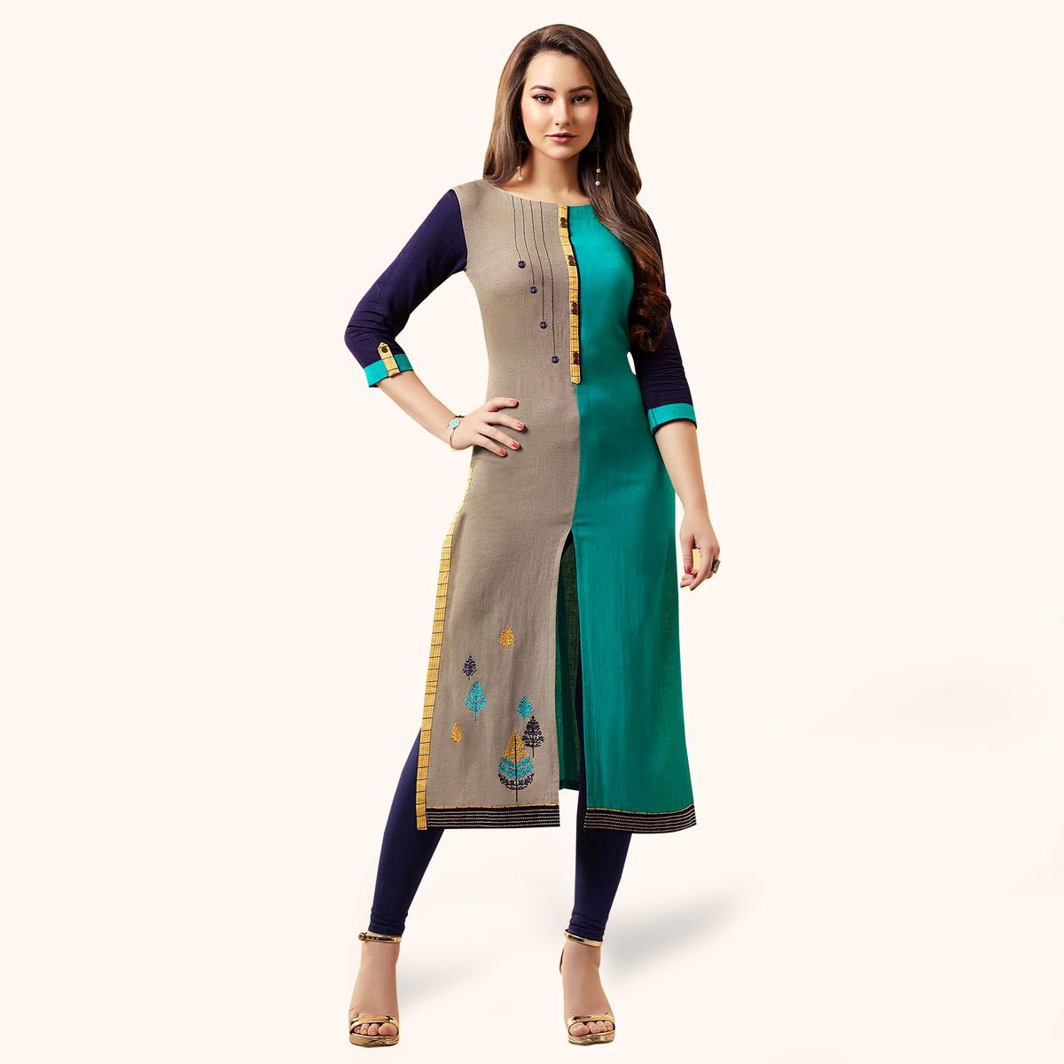 Capricious Light Gray-Light Blue Colored Partywear Embroidered Rayon Kurti
