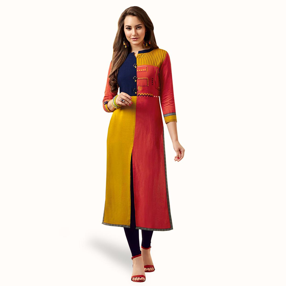 Captivating Multi Colored Partywear Embroidered Rayon Kurti