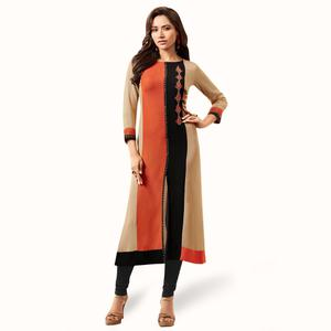 Groovy Beige Colored Partywear Embroidered Rayon Kurti