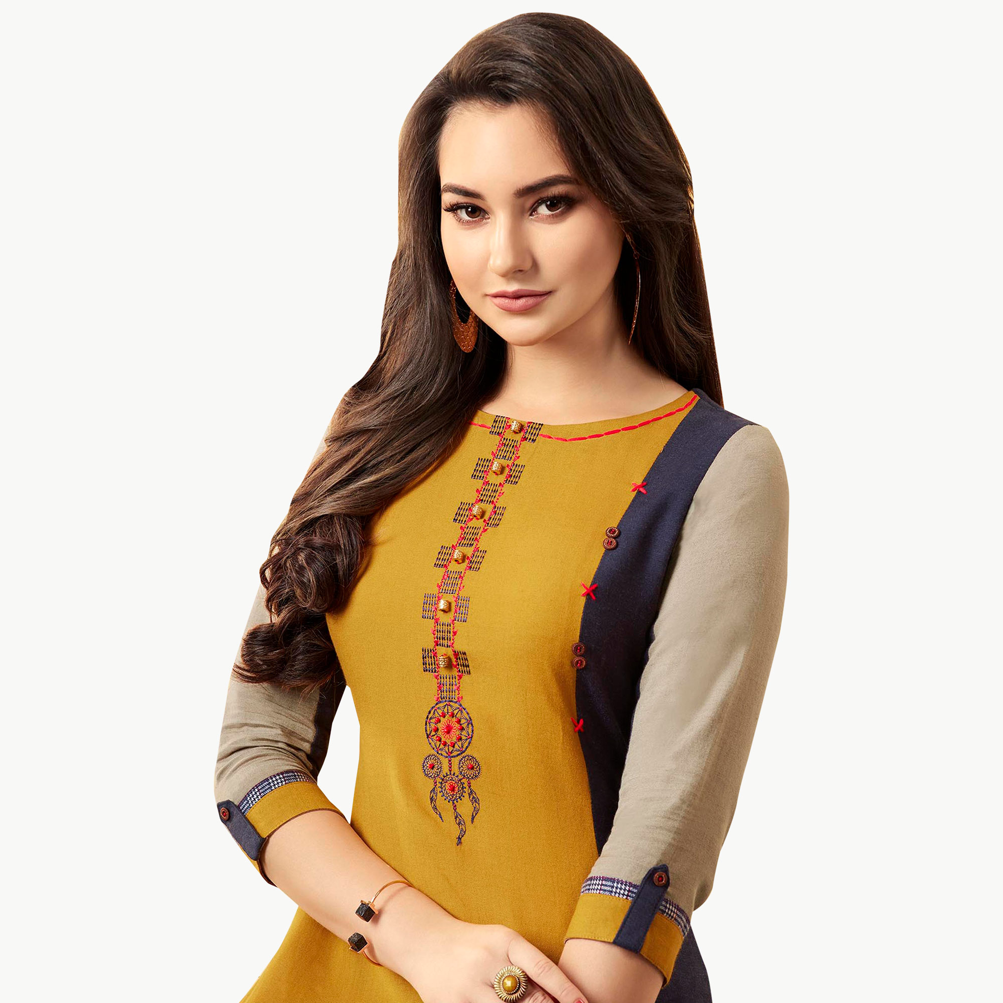 Prominent Yellow Colored Partywear Embroidered Rayon Kurti