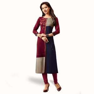Innovative Maroon-Navy Blue Colored Partywear Embroidered Rayon Kurti