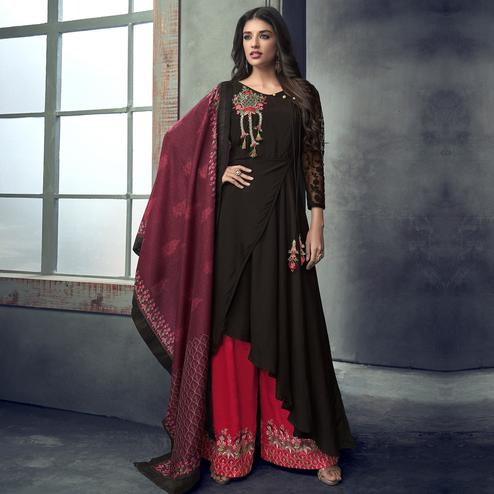 Magnetic Black Colored Party Wear Embroidered Muslin Cotton Palazzo Suit