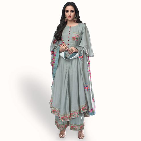 Excellent Gray Colored Party Wear Embroidered Muslin Cotton Palazzo Suit