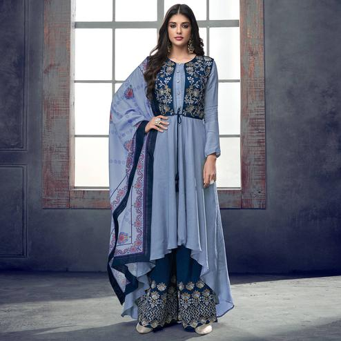 Alluring Blue Colored Party Wear Embroidered Muslin Cotton Palazzo Suit