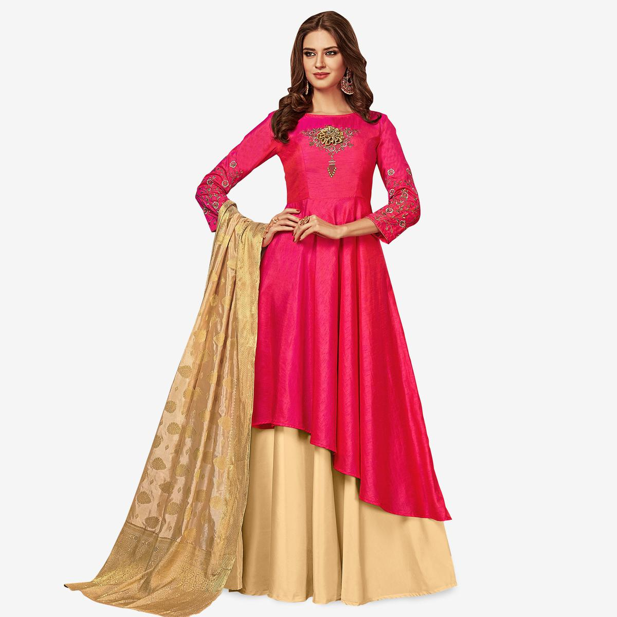 Energetic Pink Colored Party Wear Embroidered Art Silk Gown