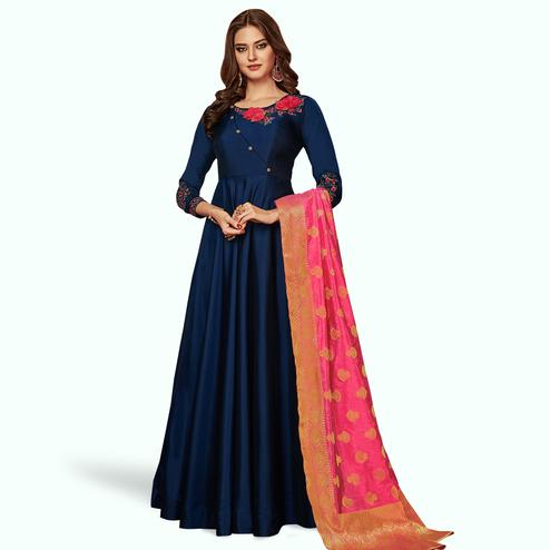 Glowing Navy Blue Colored Party Wear Embroidered Tapeta Silk Gown