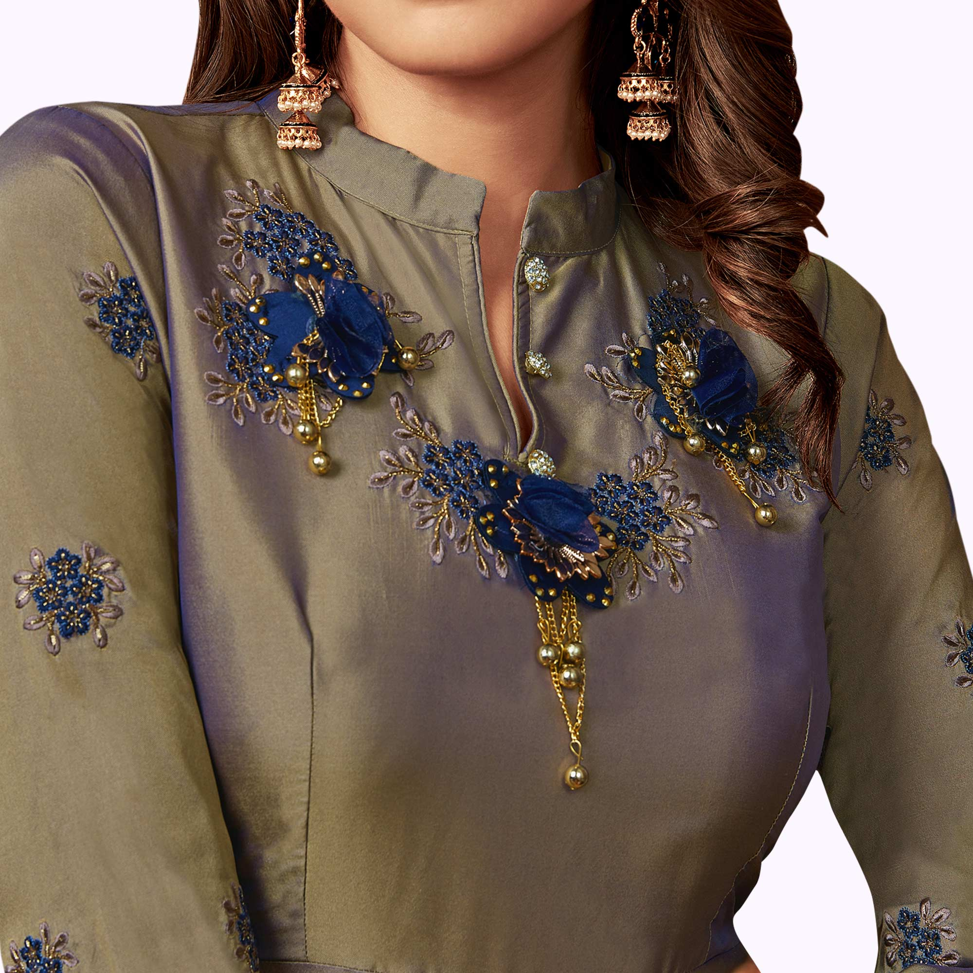 Exceptional Light Gray Colored Party Wear Embroidered Tapeta Silk Gown