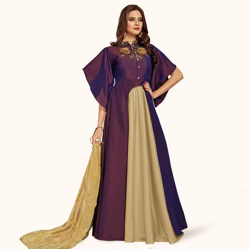 Unique Purple Colored Party Wear Embroidered Tapeta Silk Gown
